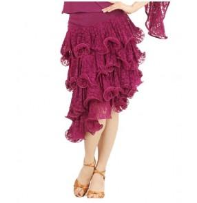 Women's layers lace mini latin dance skirt
