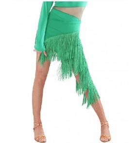 Women's layers long tassel irregular latin dance skirt