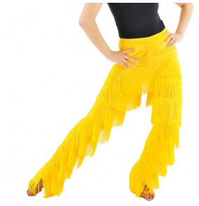 Women's layers tassel long  latin dance pants hot pink ,black red ,yellow royal blue white