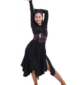 Women's long sleeves front  split black round neck latin dance dresses without sashes
