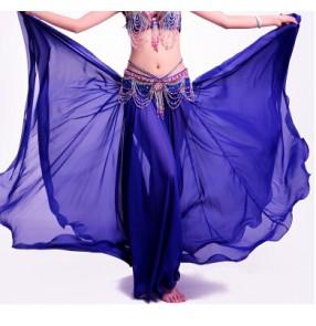 Women's multi color Indian chffon belly dance costume skirt split not including waist belt