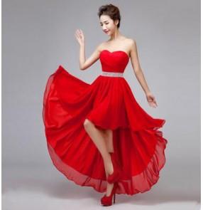 Women's off shoulder diamond decoration evening wedding party dress bridesmaid dress coral royal blue red