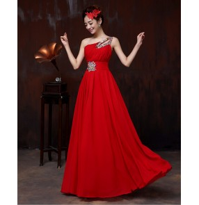 Women's one shoulder with crystal decoration long chiffon A-line evening dress wedding party dress coral