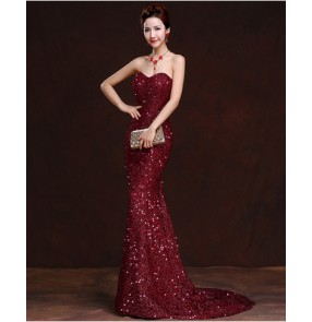 Women's paillette fabric off shoulder  mermaid evening dress long length wedding party dress with trail wine red royal blue