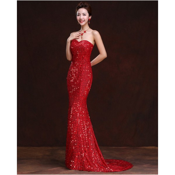 cd47c5f1093f Women s paillette fabric off shoulder mermaid evening dress long length  wedding party dress with trail wine red royal blue