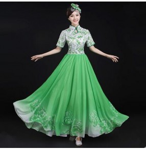 Women's patchwork green and white royal blue and white red cheongsam folk dance costumes Chinese traditional dance wear ancient traditional dance clothing stage performance dance wear
