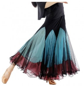 Women's patchwork mesh fabric latin skirt ballroom dancing skirt
