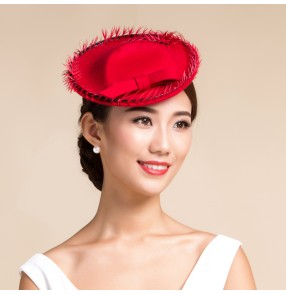 06f62c3f3ac Women s pillbox top hat mini fedoras 100% wool wedding party dress hat one  size red