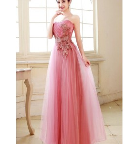 Women's pink red fuchsia long length A-line off shoulder appliques evening dress wedding party bridal dresses