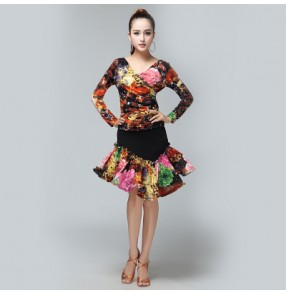 Women's plus size black turquoise floral  latin dance dresses sets top and skirts