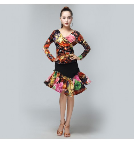 Women\'s plus size black turquoise floral latin dance dresses sets top and  skirts