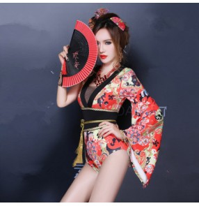 Women's printed  one shoulder jazz dj singer dance costume kimono bodysuit with sash