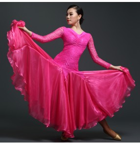 Women's professional big skirted standard ballroom dance dress waltz competition dance dress black fuchsia