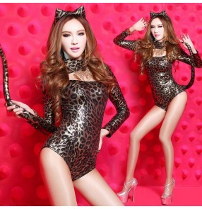 Women's pu leather sexy jazz dance costume leopard cat dance style