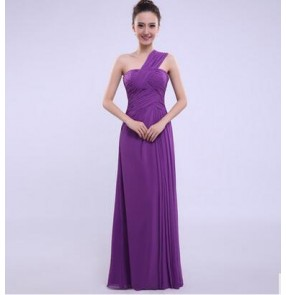 Women's purple several styles one color bridesmaid dress wedding party dress long length