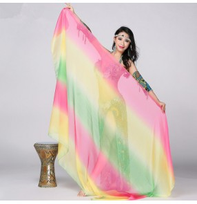 Women's rainbow color sexy competition professional gradient color belly dance dance costumes belly dance veils shawl accessory ( only veil)