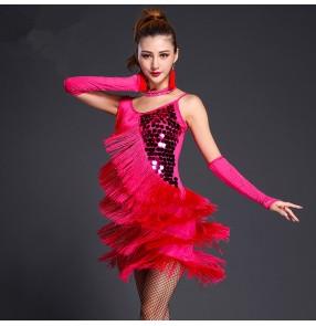 Women's royal blue red fuchsia black girls paillette tassels strap sexy latin dance  dress