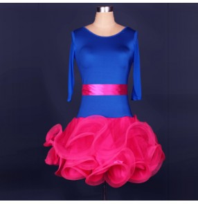Women's ruffles hem royal blue and white and fuchsia patchwork latin dance dress short sleeves