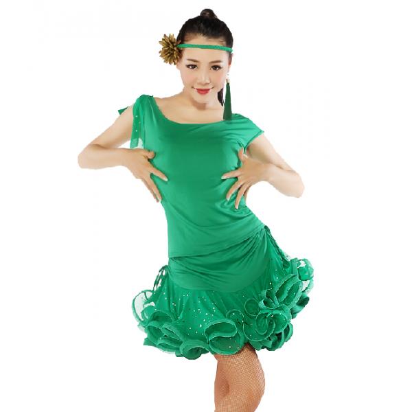 Womens Sequin Fabric Latin Dance Dress Set Dance Top Dance Skirt