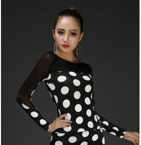 Women's sexy fashionable female polka dot leopard red black latin dance salsa dance tops shirts blouse