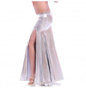 Women's sexy silver gold pu leather front split belly dance skirt