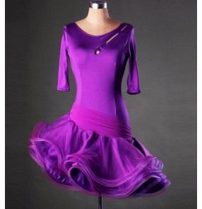 Women's short sleeves latin dance dress red purple violet