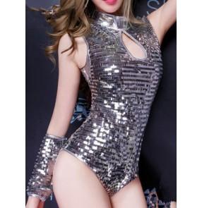 Women's silver sequin one piece  jazz dance bodysuit