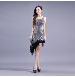 Women's silver sequined with ruffles hem backless with inside bra and shorts latin dance dress