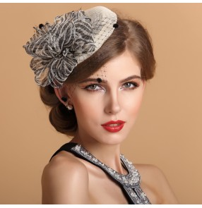 Women's sinamay high quality pillbox dress hat  top mini fedoras wedding party hat  one size ivory navy