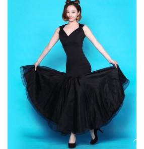 Women's sleeveless big skirted ballroom tango waltz dance dress