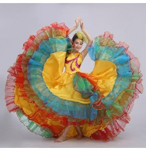 Women's spanish folk bull dance dress big skirted theatre dance dress 720 degree
