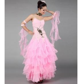 Women's strap double shoulder crystal pattern waltz dance dress ballroom dancing