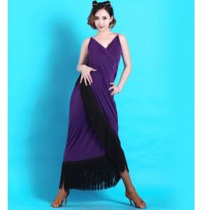 Women's strap shoulder tassel long length latin dance dress