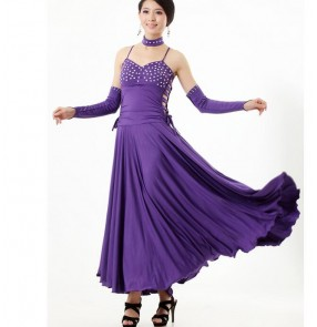 Women's strap shoulder with sleeves and long ballroom dancing dress tango violet