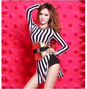 Women's striped long sleeves with waistband jazz dance costume dj ds singer dance dress