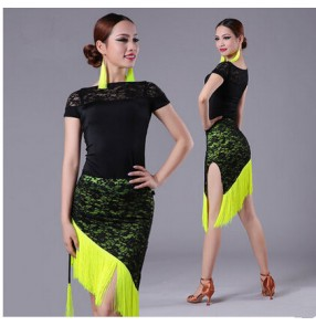 Women 's tassel green and black lace latin dress  set ( top and skirt)
