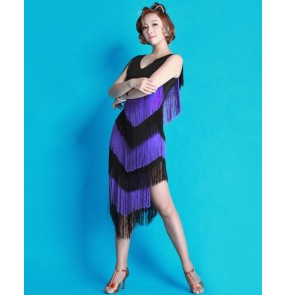 Women's tassel latin salsa dance dress
