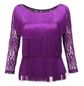 Women's tassel layers lace long sleeves latin dance top violet black red