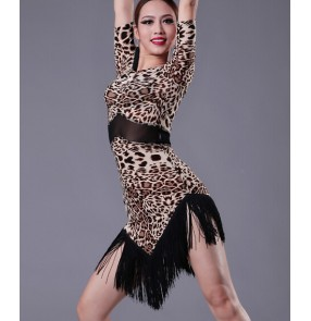 Women's tassel leopard and black latin dance dress half sleeves salsa chacha dance dress