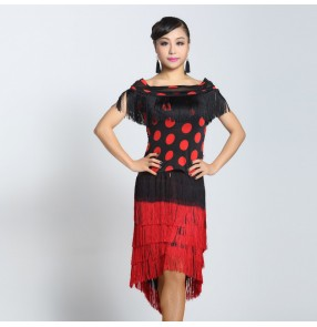 Women's tassel short sleeves latin dance set two pieces top and skirt