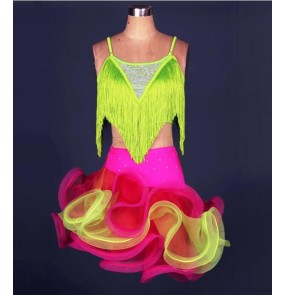 Women's tassel strap green yellow hot pink patchwork ruffles hem latin dance dress