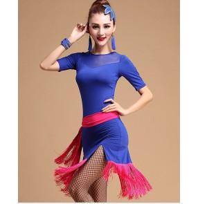 Women's tassel with belt patchwork latin dance dress royal blue and fuchsia black