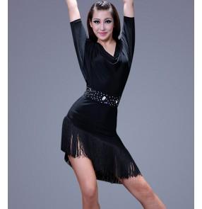 Women's tassel with rhinestone sashes and black latin dance dress short sleeves