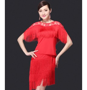 Women's tassels and lace patchwork sexy latin salsa  dance dress sets top and skirts