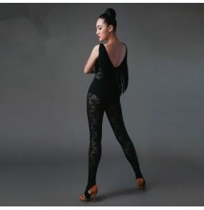 Women's tassels black V neck backless body pants jumpsuits S-L