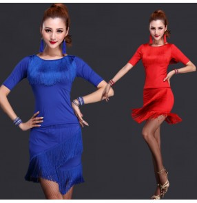 Women's tassels middle long sleeves latin dance dresses sets top and skirts