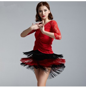 Women's tassels red and black patchwork lace sexy latin dance dresses sets top and skirts