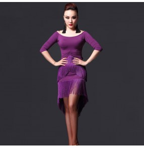 Women's tassels violet royal blue middle long sleeves latin dance dresses sets top and skirts