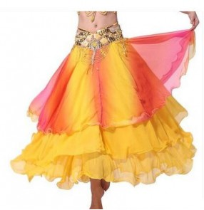 Women's three layers gradient color belly dance costume  skirt full skirted only skirt without waistband
