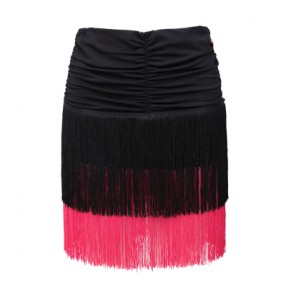 Women's three layers tassel patchwork latin salsa dance skirt